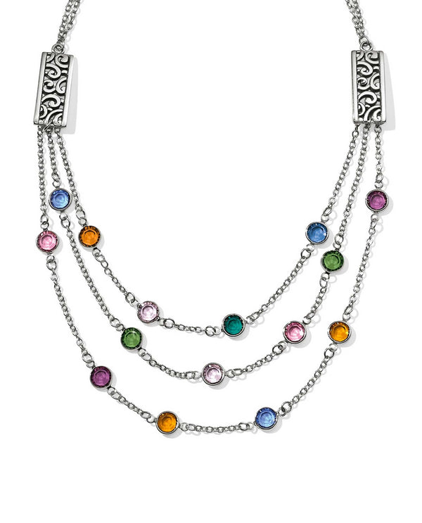 Multi Brighton JL9753 Elora Gems Multi Layer Necklace with pops of colorful Swarovski