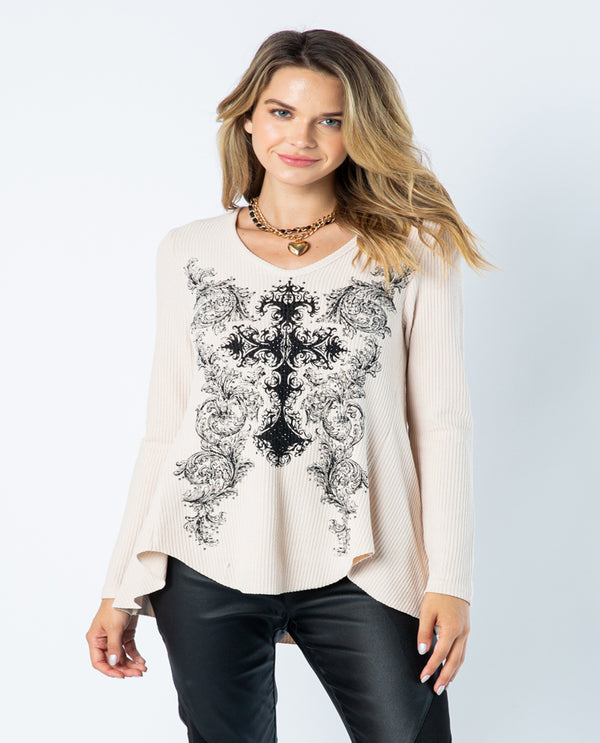 Vocal 18115l Long Sleeve Top With Cross & Stones Front