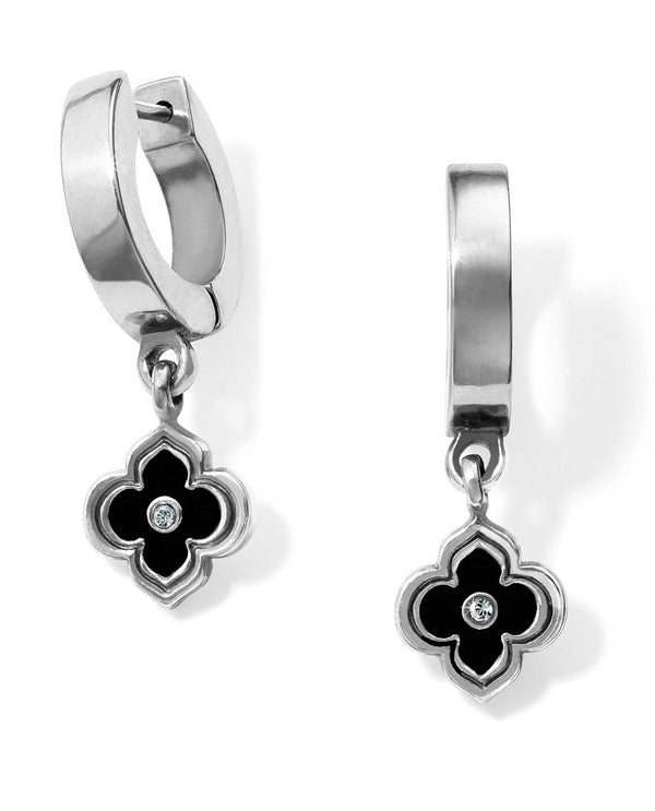 Silver black JA4790 Brighton Toledo Alto Noir Huggie Earrings with Swarovski earrings
