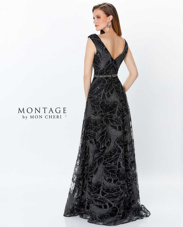 Black/pewter Montage 119957 Sleeveless V-Neck Beaded Gown with deep v-neckline and beading