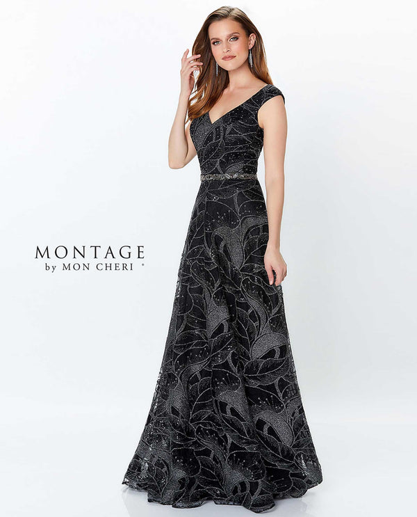 Black/pewter Montage 119957 Sleeveless V-Neck Beaded Gown with figure-flattering bodice