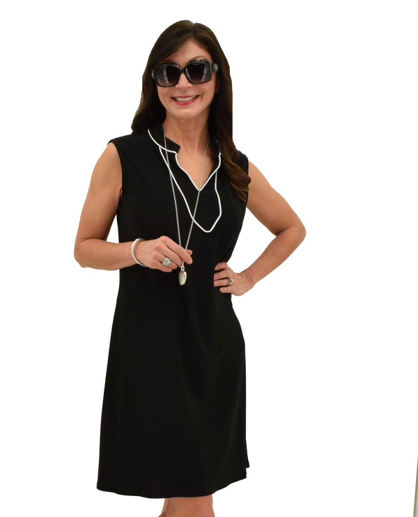Black White Trim Dress D188 knee length roomy fitting dress with white trim around collar