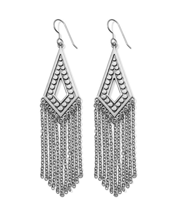 JA4860  Brighton Pebble Disc Fringe French Wire Earrings silver fringe earrings for women