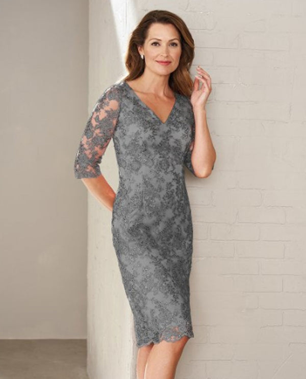 Platinum Jasmine M200009 Lace V Neck Dress