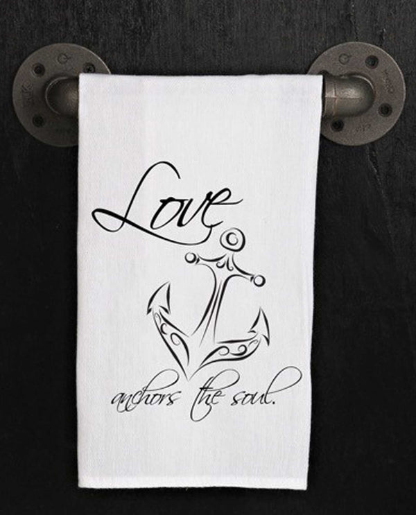 Second Nature By Hand TWL251 Love Anchors Towel hand made cotton kitchen towel