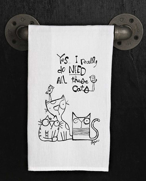 Second Nature By Hand TWL330 Yes, I Really Do Towel with images of adorable hand drawn cats