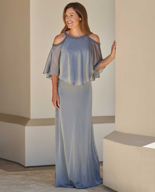 Silver Jade Jasmine J215006 Tiffany Chiffon Dress with Boat Neckline mother of the bride dress