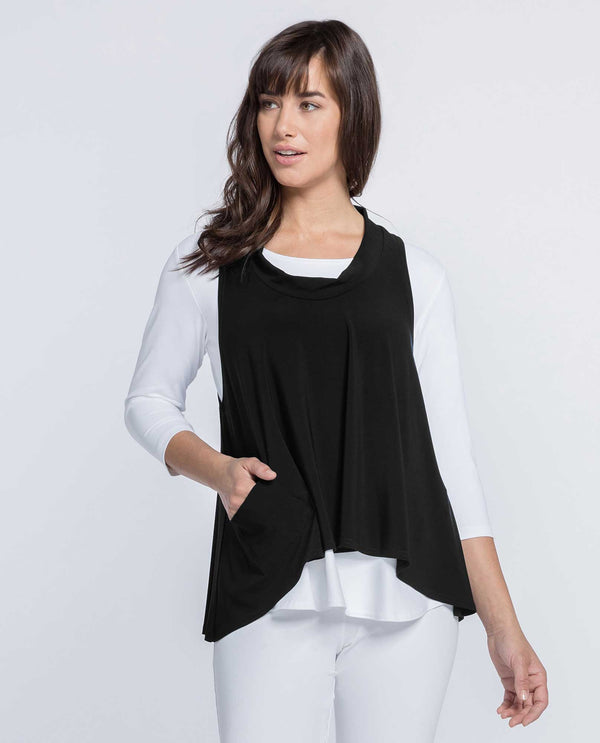 Black Sympli 21159 Shift Smock with cowl neck and front pocket made from wrinkle resistant fabric
