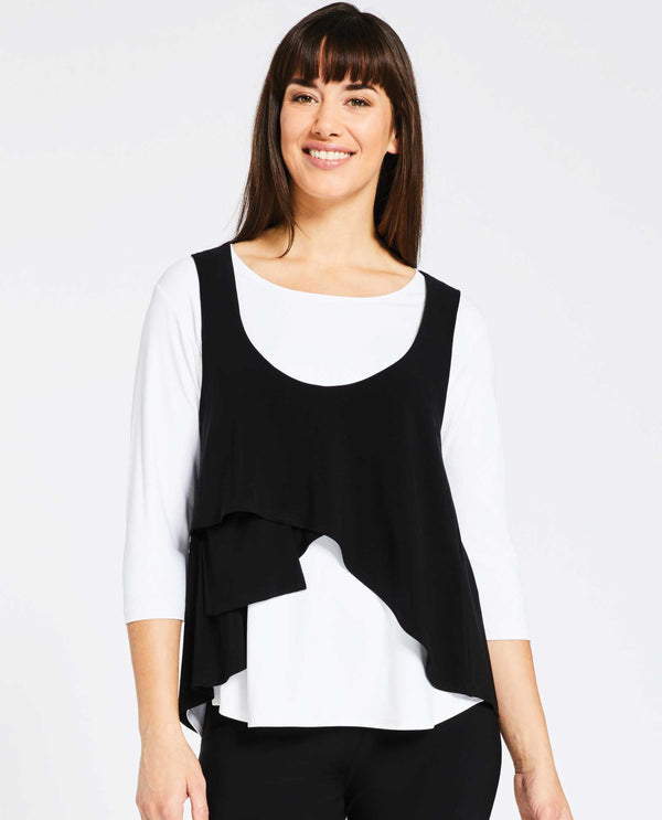 Black Sympli 21130 Crop Smock with asymmetrical hem for layering made of jersey fabric