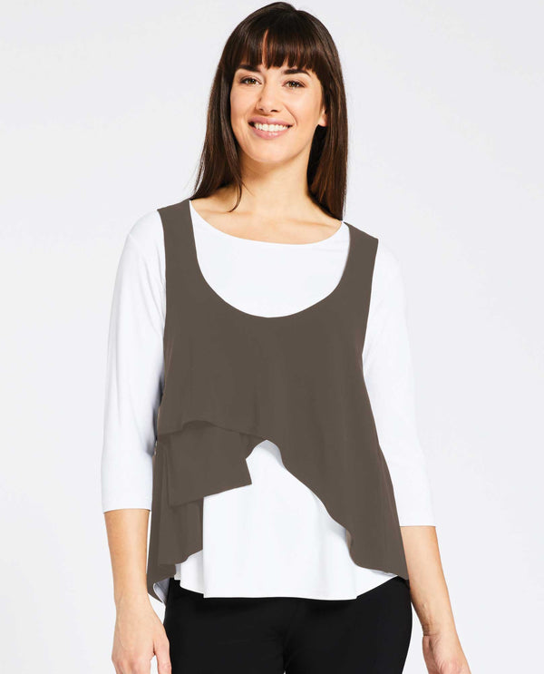 Mushroom Sympli 21130 Crop Smock with asymmetrical hem for layering made of jersey fabric