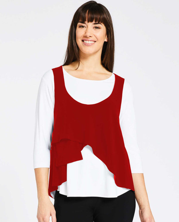 Poppy Sympli 21130 Crop Smock with asymmetrical hem for layering made of jersey fabric
