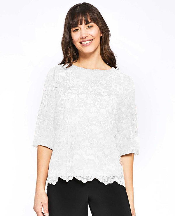 White Sympli 3223 Lace Box Top flirty lace layering piece with 3/4 sleeves and scalloped hem