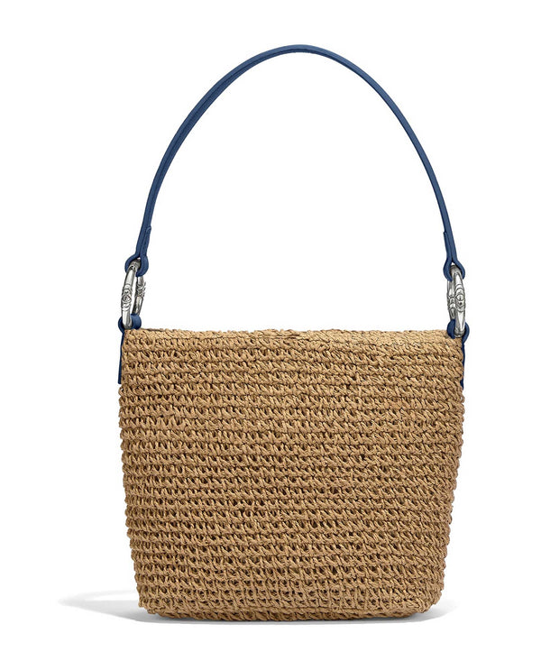 H7335F White & blue Brighton Cherie Straw Shoulderbag French Blue straw bag with leather straps