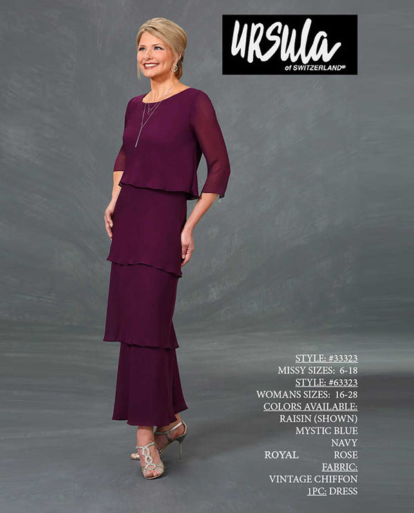 Ursla 33323 tiered 3/4 sleeve dress raisin purple long 3/4 sleeve mother of the bride dress
