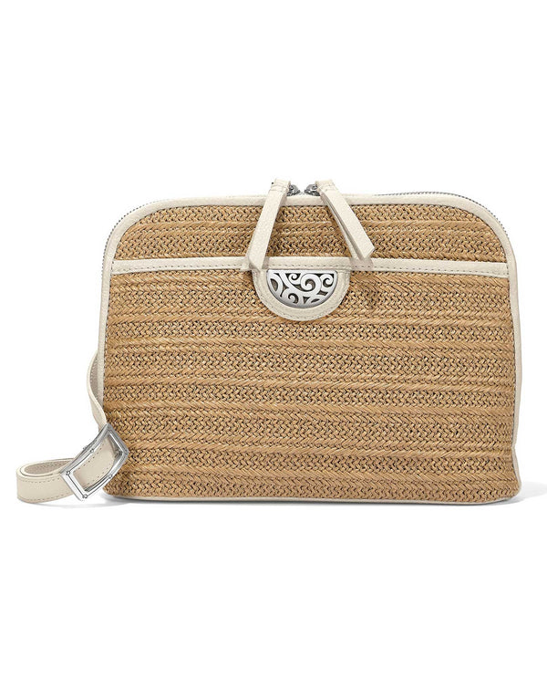 White Brighton H73402 Jojo Straw Organizer crossbody beach bag made of straw