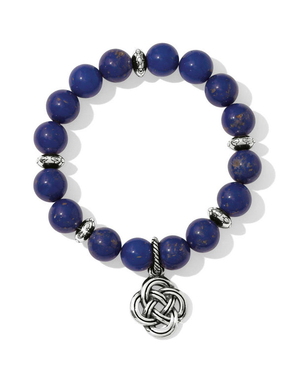 Blue Brighton JF5443 Interlok Blue Stretch Bracelet made with blue beads and Celtic knot hanging