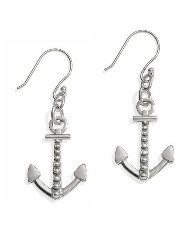 JA4821 Brighton Coastline Reversible Anchor French Wire Earrings with little silver balls