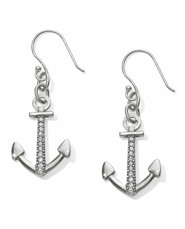 JA4821 Brighton Coastline Reversible Anchor French Wire Earrings with Swarovski crystals