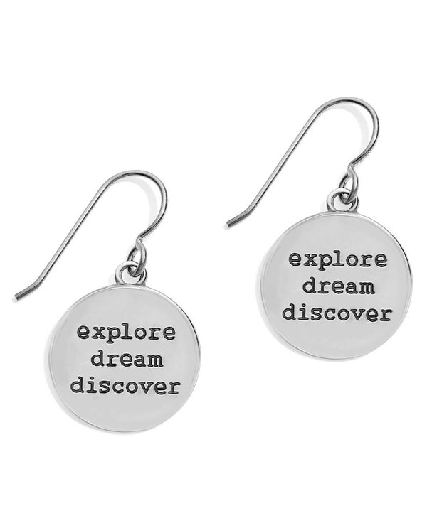 JA4831 Brighton Coastline Compass French Wire Earrings that say explore, dream, discover on backs