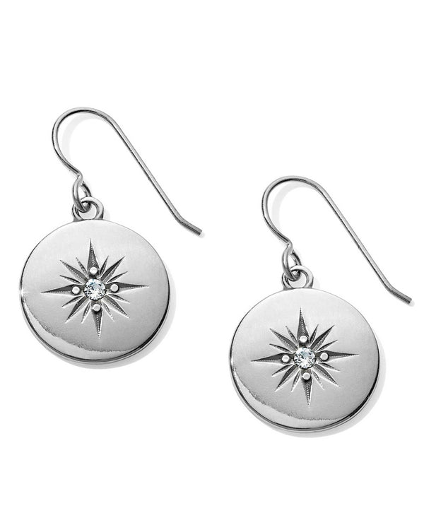 JA4831 Brighton Coastline Compass French Wire Earrings with Swarovski compass design