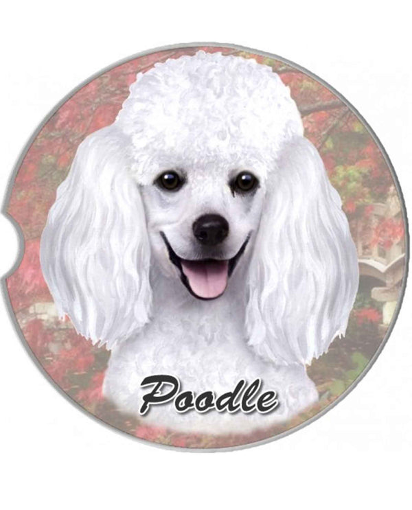 231-28 White Poodle Car Coaster