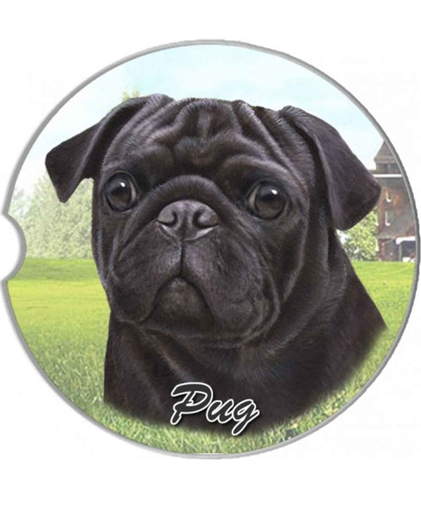 231-32 Black Pug Car Coaster