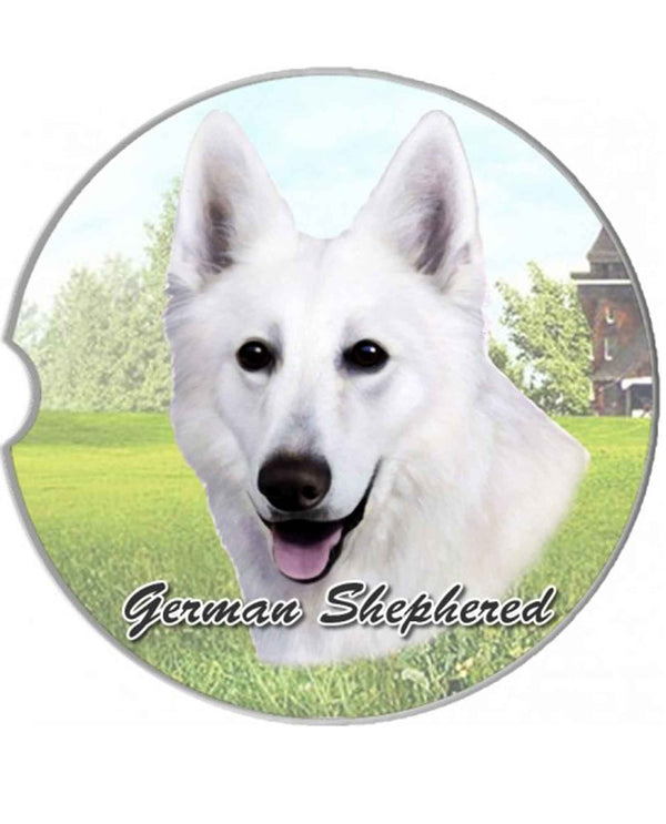 231-75W White German Shepherd Car Coaster