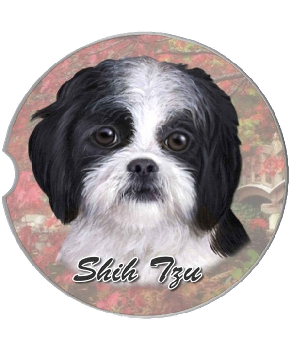 231187B Black and White Zhih Tzu Puppy Car Coaster