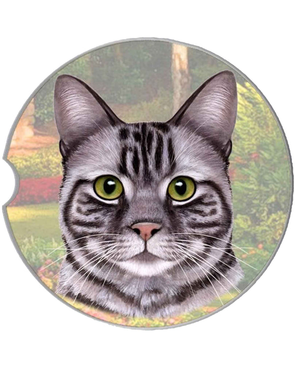 232-9 Silver Tabby Cat Car Coaster