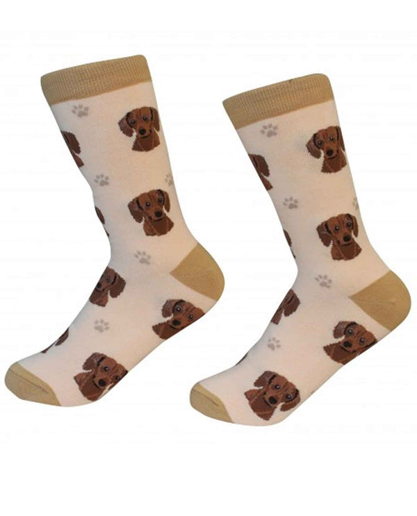 800-13 Red Dachshund Dog Socks tan cotton socks with Dachshund dog faces printed