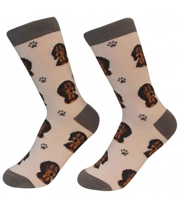 800-14 Black Dachshund Dog Socks tan cotton socks for women with Dachshund faces printed
