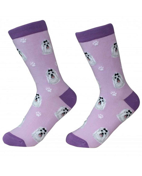 800-24 Maltese Dog Socks purple cotton socks for women with Maltese dog faces