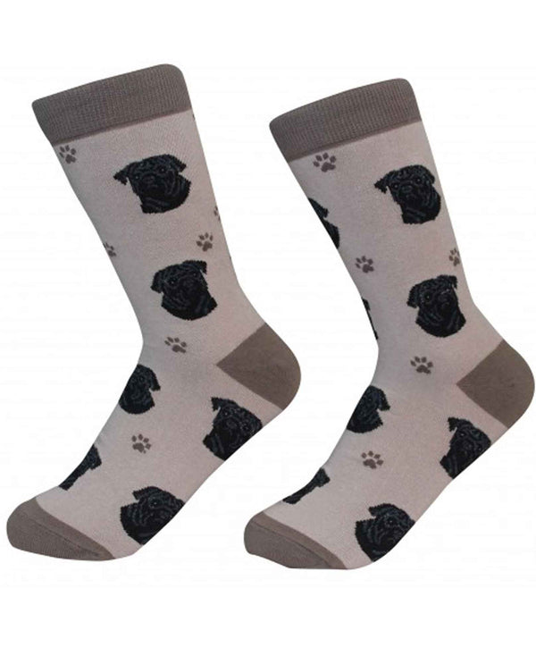 800-32 Black Pug Dog Socks tan cotton socks for women with black pug faces printed