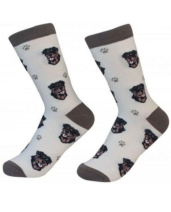 800-33 Rottweiler Dog Socks white cotton socks with Rottweiler faces printed on them