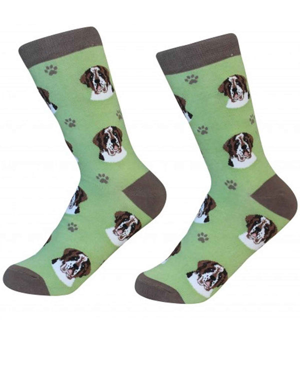 800-50 Saint Bernard Dog Socks green cotton socks for women with saint bernard faces