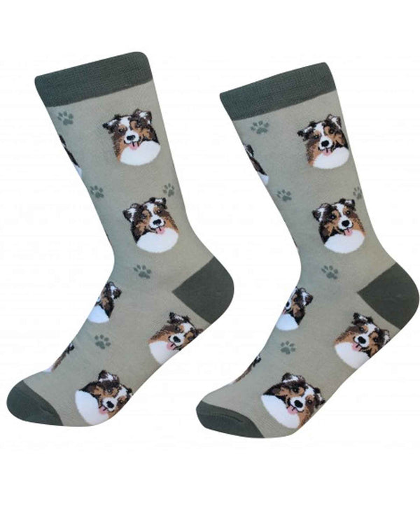 800-53 Australian Shepherd Dog Socks gray cotton socks for women with Australian Shepherds