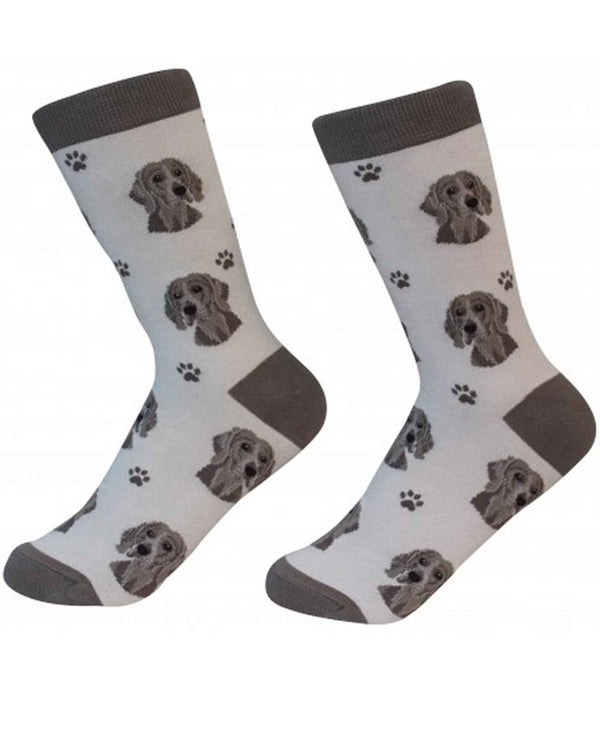 800-54 Weimaraner Dog Socks cream colored cotton socks with Weimaraner dog faces printed