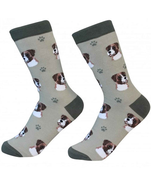 800-6 Boxer Dog Socks tan cotton socks for women with boxer dog faces printed on them