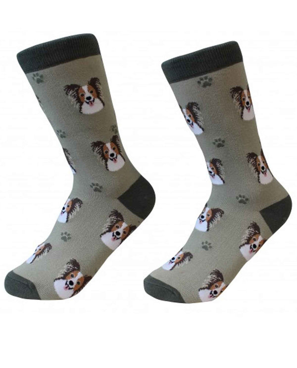 800-63 Papillon Dog Socks grey cotton socks for women with Papillon dog faces printed on them
