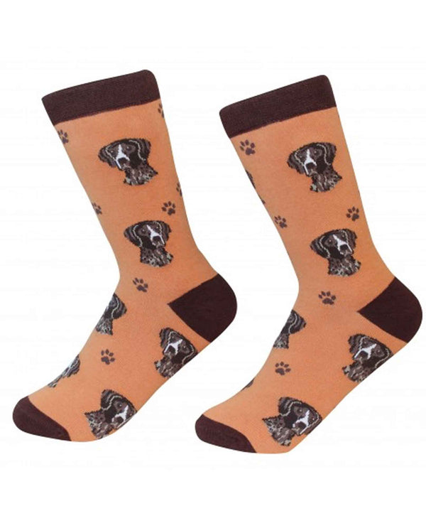 800-83 German Shorthaired Pointer Dog Socks orange cotton socks with German Shorthaired Pointers