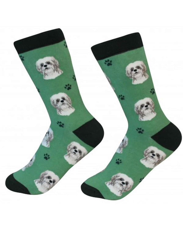 800-87 Tan Shih Tzu Dog Socks green cotton socks for women with Shih Tzu faces printed