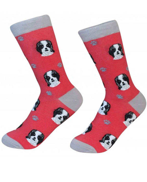 800-87B Shih Tzu Dog Socks red cotton socks with black and white Shih Tzu dogs printed