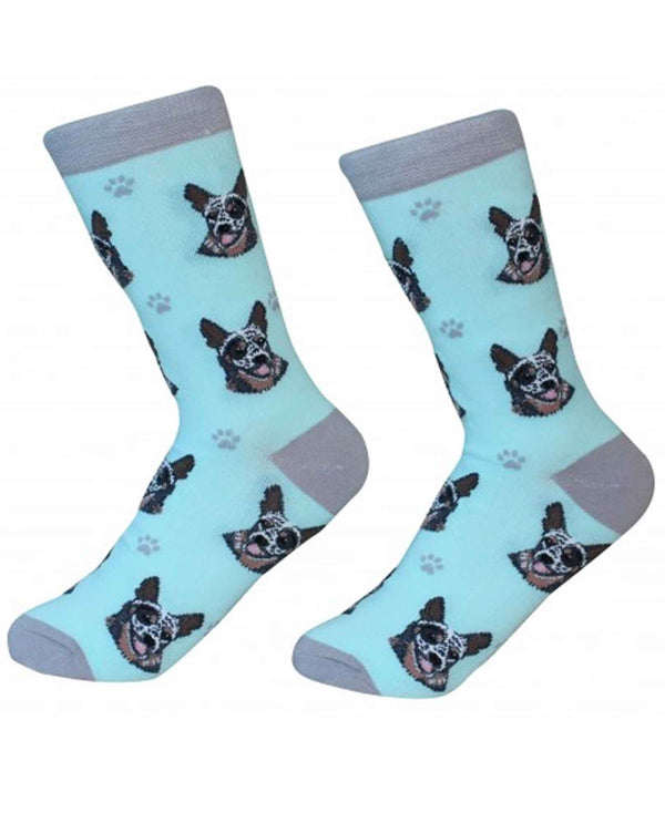 800-90 Australian Cattle Dog Socks blue cotton socks for women with Australian Cattle dogs printed