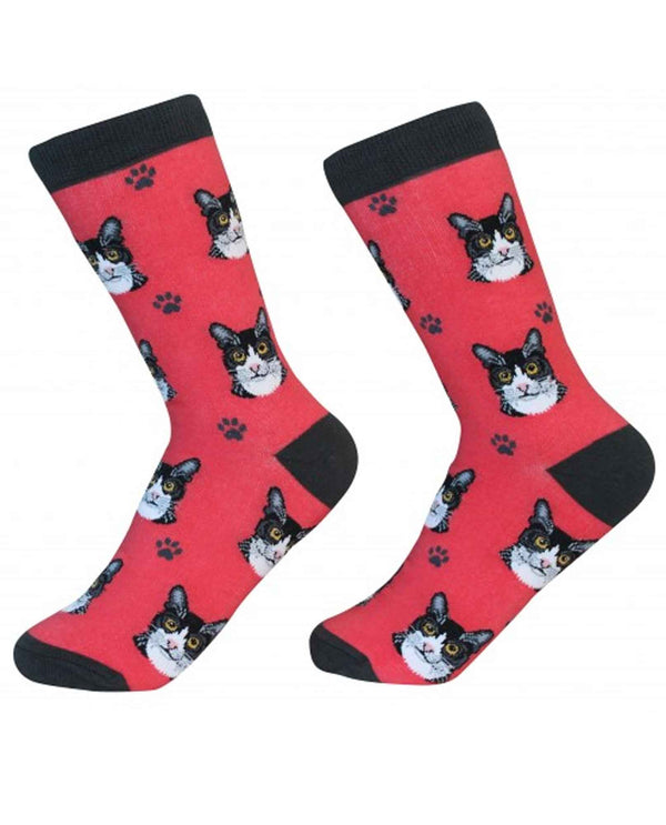 801-3 Black & White Cat Socks red cotton socks for women with cats printed on them