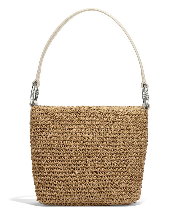 H73352 Brighton Cherie Straw Shoulderbag beachy straw bag with white leather handles
