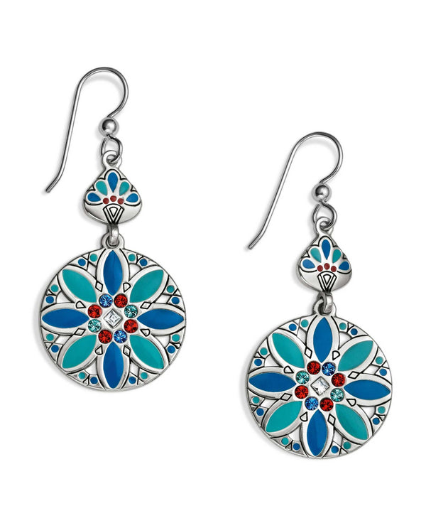 multi JA4893 Brighton Africa Stories Multi French Wire Earrings exotic red and blue earrings