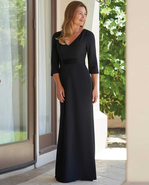 J215009U Black Jade Jasmine V Neck Beaded Dress 3/4 sleeve mother of the bride dress