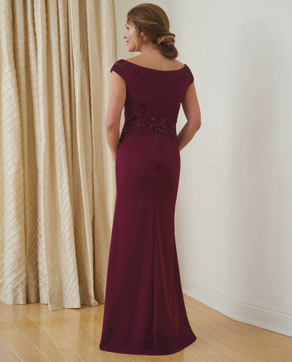 Back of K218005 Cranberry Jade Jasmine Portrait V-Neck Dress lovely mother of the bride dress