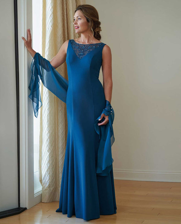 K218003 Teal Jade Jasmine Sleeveless Boat Neck Dress mother of the bride dress with shawl
