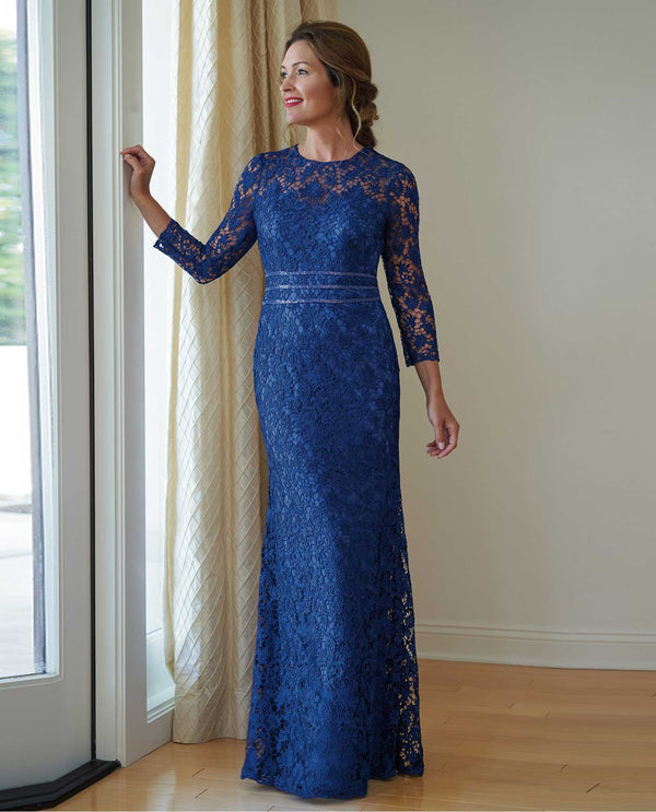 K218014U Cobalt blue Jade Jasmine Long Sleeve Beaded Waist Dress mother of the bride dress